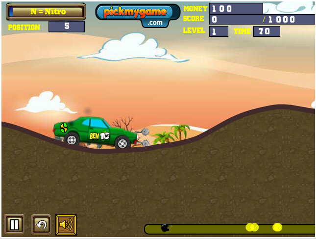 Capa - Jogos de corrida : Ben 10 Bolt Car Game