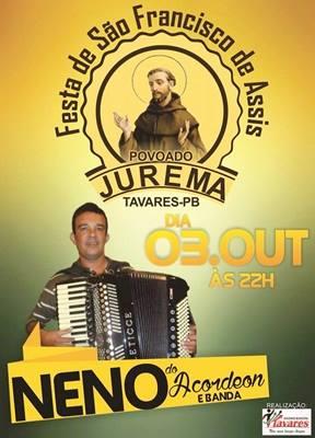 Capa - Festa de São Francisco de Assis Povoado Jurema na Zona Rural de Tavares-PB!